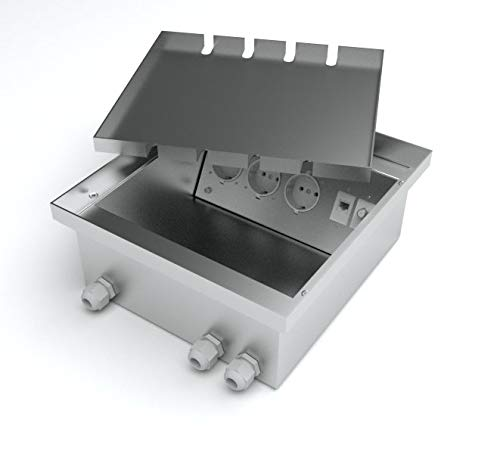 Einbausteckdose, Fußbodendose, Bodensteckdose Edelstahl V2A 6 Steckdosen + 4 Anschlüsses
