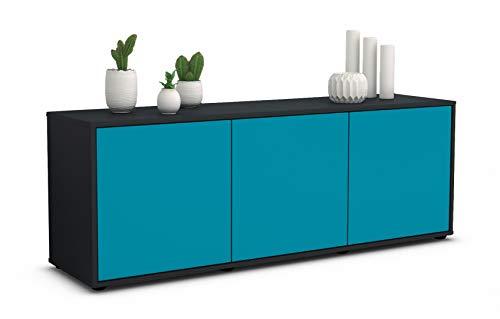 Stil.Zeit TV Schrank Lowboard Allegra, Korpus in anthrazit matt/Front im exklusiven Lagunenblau (135x49x35cm), mit Push to Open Technik, Made in Germany