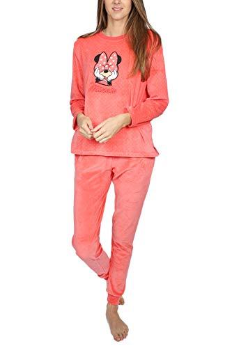 Disney Pijama Manga Larga Velour Topos Minnie Bow para Mujer
