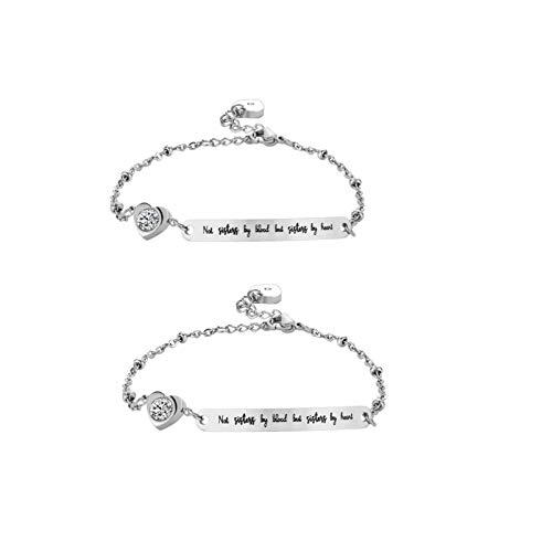Holibanna 2pcs Best Friend Bracelets Not by Blood But by Heart Soul Sister Bracelet Inspirational Jewelry Mantra Cuff Bangle for Woman (Silver)