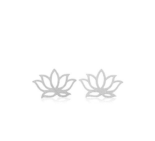 Ohrring Lotus Blume filigran verarbeiteter Ohrstecker/versilbert