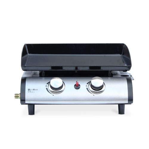 Alices Garden Plancha Au Gaz 2 Brûleurs Porthos 5 Kw Barbecue Cuisine Extérieure Plaque émaillée Inox