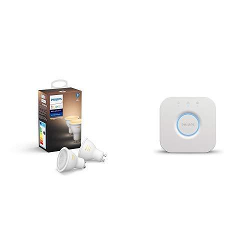 Philips Hue Bridge 2.0 Controllo del Sistema + Hue White Ambiance Set 2 Faretti Spot LED, Attacco GU10