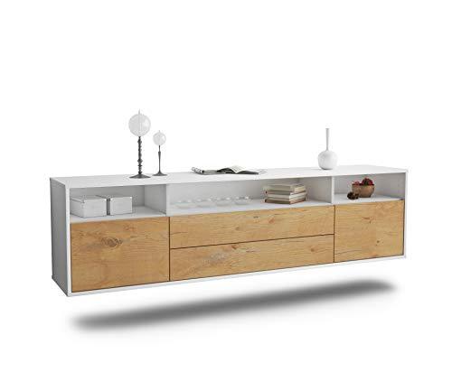 Dekati Lowboard Laredo hängend (180x49x35cm) Korpus Weiss matt | Front Holz-Design Eiche | Push-to-Open