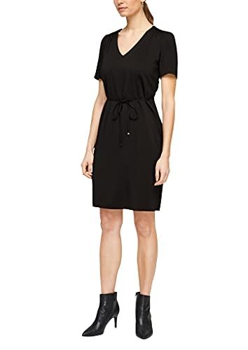 s.Oliver BLACK LABEL Damen Viskosekleid mit femininem V-Ausschnitt True Black 38