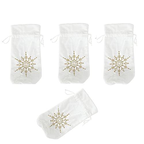 Yeekg 4 fundas de botella de champn de Navidad, cubierta de botella de vino de felpa con copos de nieve, cubiertas de botellas de Navidad para decoracin de invierno y Navidad