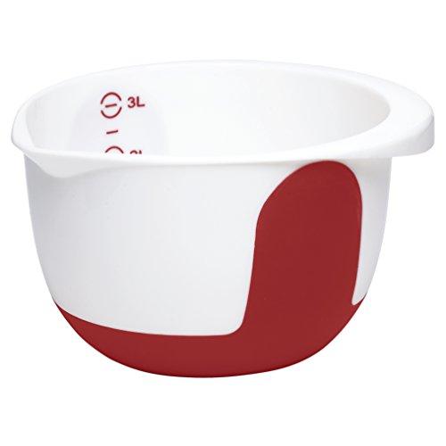 Emsa 508016 Rührtopf, 3 Liter, Abriebfeste Skala, Weiß/Rot, Mix & Bake
