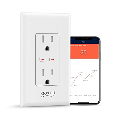 Smart Wall Outlet with Energy Monitoring, gosund Wi-Fi Socket with 2 Ports, Remote Control, Compatible with Alexa and Google Assistant,Tamper-Resistant, Requires 2.4 GHz Wi-Fi,1 Pack