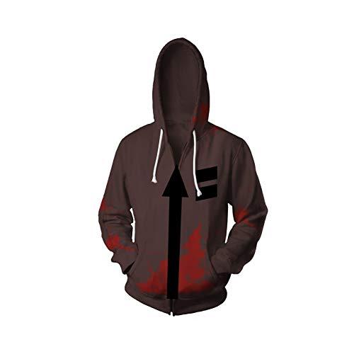Qb UnisexHoodie Angels Of Death - Isaac.Foster/Zack Cosplay Sweatshirt (Color : Brown, Size : M)