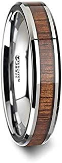 Thorsten KONA | Tungsten Rings for Men | Tungsten | Comfort Fit | Tungsten Carbide Wedding Ring Band with Koa Wood Inlay and Polished Beveled Edges - 4mm