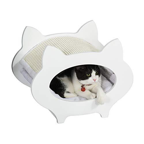 tiragraffi per gatti nicchia Pawhut Casetta Cuccia per Gatti in Legno con Tiragraffi in Sisal