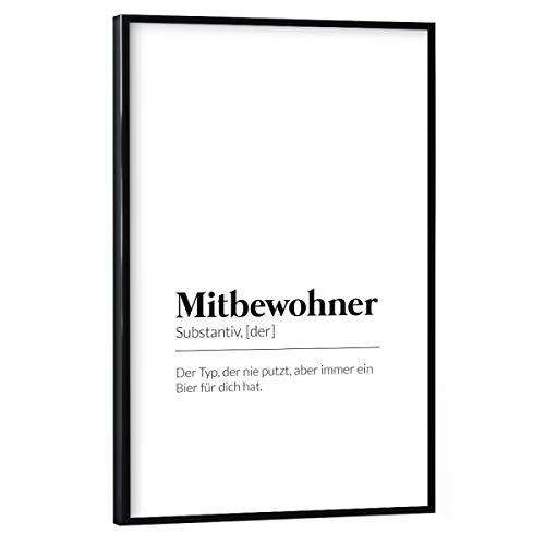 artboxONE Poster mit schwarzem Rahmen 30x20 cm Typografie Definition Mitbewohner Bier