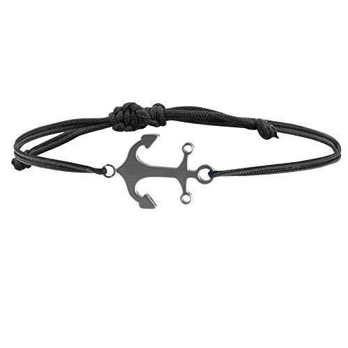 Ankerpunkt Armband Damen Herren Anker Armband silber Stoffband schwarz Handemade in Deutschland