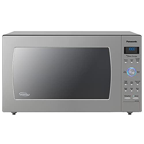 Panasonic Oven with Cyclonic Wave Inverter Technology, 1250W, 2.2cu.ft. Countertop Microwave with Genius Sensor One-Touch Cooking – NN-SD975S (Stainless Steel/Silver), Stainless