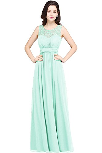 Damen Elegant Spitze Tantzkleid Partykleid Homecoming dress Chiffon lang Mint Grün 40