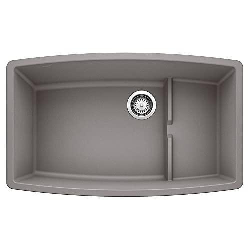 BLANCO, Metallic Gray 440067 PERFORMA CASCADE SILGRANIT Undermount Kitchen Sink