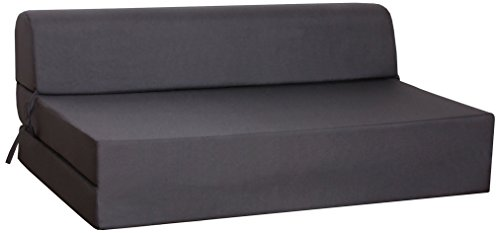 CANAPES TISSUS Enjoy 2 Chauffeuse Canapé-Lit, Polyester, Anthracite, 119 x 78 x 48 cm