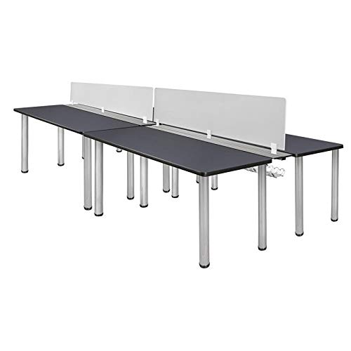 Buy Cheap Regency Kee 66 x 24 Double Benching System with Privacy Divider- Grey/Chrome