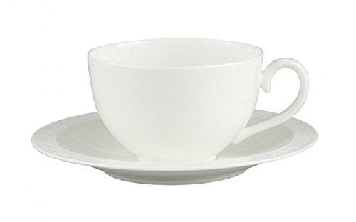 Villeroy & Boch White Pearl Tasse Petit Déjeuner avec Assiette, 2 pièces, Porcelaine Bone China, Multicolore