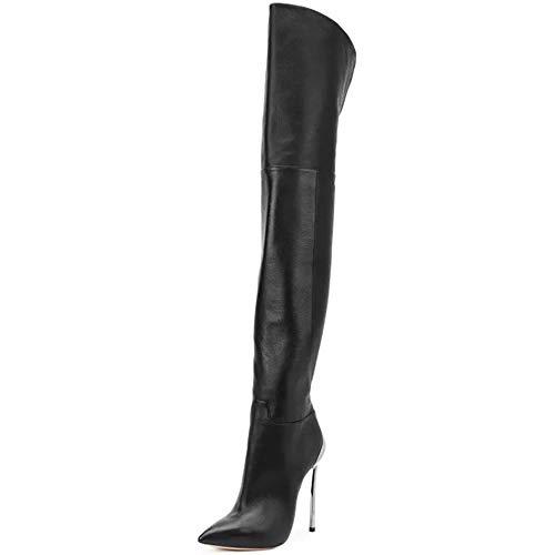 DEAR-JY dam stövel halsduk, PU-läder sidodragdragkedja sexig mode ärm hög elastisk spets lårhöga stövlar, Slim Stiletto Heel Boots scenshow 44 EU