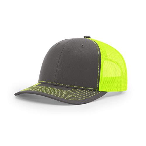 Richardson Unisex 112 Trucker Adjustable Snapback Baseball Cap, Split Charcoal/Neon Yellow, One Size Fits Most