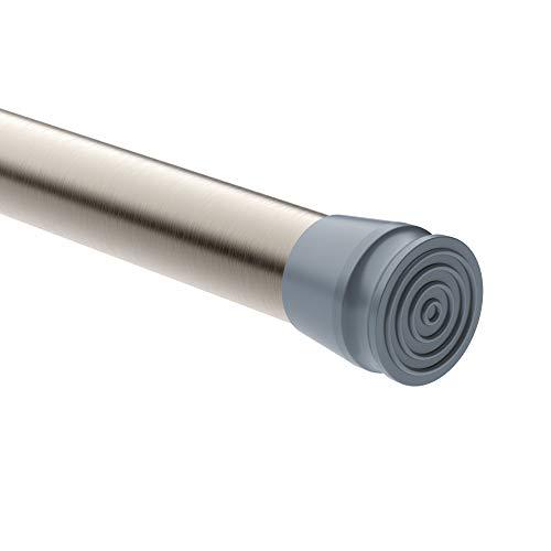 MUHOO Duschvorhangstange ohne Bohren 70 bis 120 cm | Teleskopstange Garderobe | Klemmstange für Gardinen | Ausziehbare Gardinenstange Gebürstetes Nickel