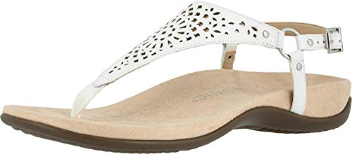Vionic Women's Rest Kirra Backstrap Sandal - Ladies Sandals with Concealed Orthotic Arch Support White Perf Leather 7 Medium US