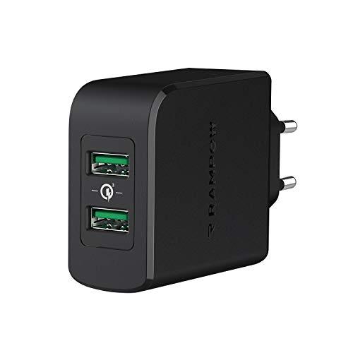 RAMPOW Quick Charge 3.0 Cargador USB 39W Cargador Móvil, Cargador Pared Dual Puertos Cargador Rápido para iPhone 12/11 / X/XS / 8, Samsung S10 / S9 / S8, LG, Sony, Huawei, Xiaomi, iPad y más