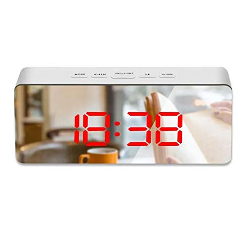Alarm Clocks for Bedrooms Battery Powered New Digital LED Thermometer Display USB Mirror Night Light Alarm Clock Timepiece,Red