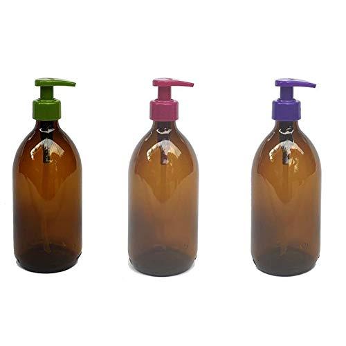 Versandfuxx24 - 3er Set Seifenspender | Lotionsspender 500 ml Glas Braun