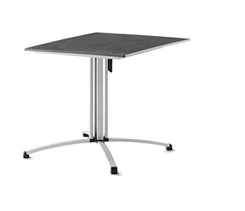 SIEGER 3430-50 Gastro-Klapptisch mit vivodur-Platte 80x80 cm, Stahlrohrgestell, Tischplatte Schieferdekor, Graphit/Schiefer anthrazit