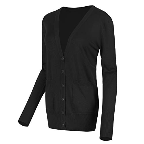 Urban CoCo Women's Long Sleeve Button Down Basic Cardigan Sweater (L, Black)