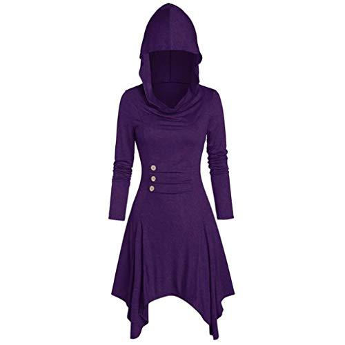 Women Hooded Sweatshirt Dress Long Sleeve Bandage Medieval Vintage Lace Up High Low Cloak Robe from Vanankni