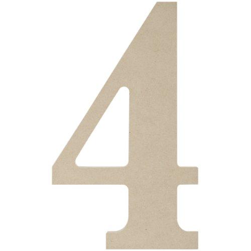 MPI Holzbuchstaben und Zahlen aus MDF, 24 cm, Nummer 4