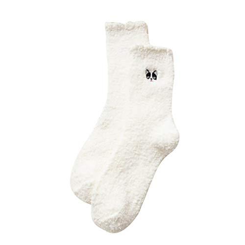 Writtian 5 Paar Socken Dame Winter Stoppersocken Stickerei Korallen Samt Schlafsocken warme Samt Verdickung zu Hause Boden Monat Frotteesocken mit ABS Antirutsch Geschenk für Freundin Valentinstag