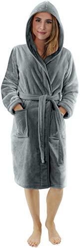 NY Threads Robe de Chambre de Luxe pour Dames | Robe de Bain pour Dames en Polaire Super Doux | Vêtements de Salon et de Nuit en Peluche à Capuche (Medium, Gris Acier)
