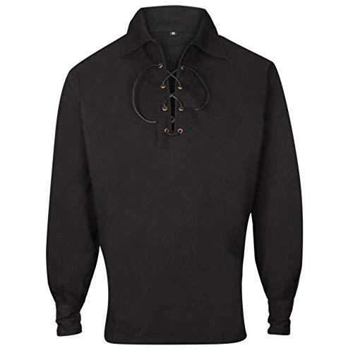 Herren Budget Deluxe UK Verkäufer Schottisch Jakobiten Ghillie Kilt Hemd Schwarz - Schwarz, L