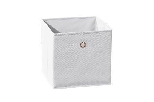 Inter Link Faltkiste Faltbox Faltbare Aufbewahrungsbox mit Metallöse aus Stoff in Weiss