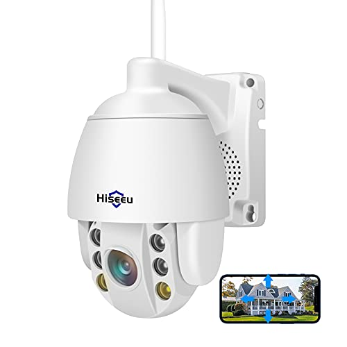 3MP HD Wireless Security Camera Outdoor, Pan Tilt Zoom, Two Way Audio, Motion Detection, Light Alarm with Floodlight Color Night Vision, SD/Cloud Record, Compatible with Hiseeu Wireless Camera System