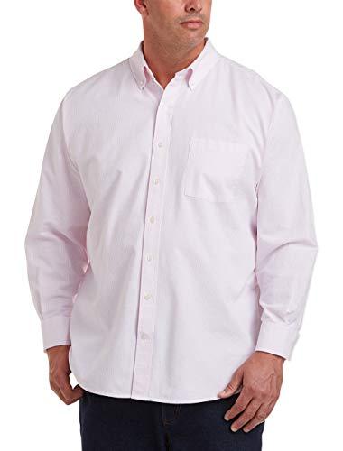 Amazon Essentials Men's Big & Tall Long-Sleeve Pocket Oxford Shirt fit by DXL, Pink Stripe, 5XLT