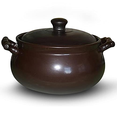 4 Quart Casserole Dish With Lid Safe with Lid,Black Clay Roasting Pot for Korean Soup, Rice and Stew