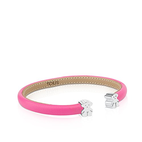TOUS brazalete esclava en piel rosa y plata de primera Ley, Diámetro 16 cm, osos 0,7 cm