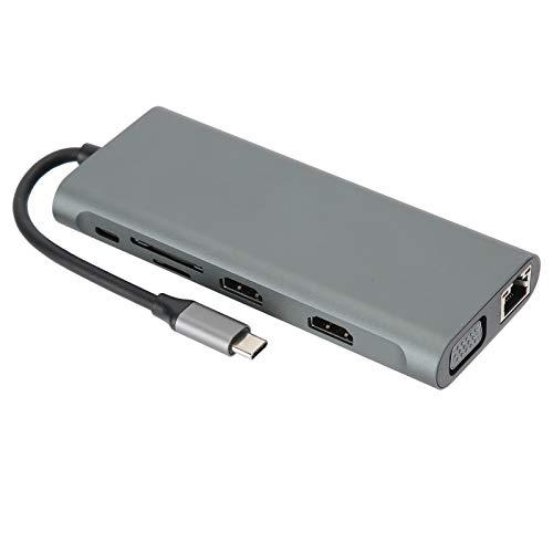 12‑In‑1 Docking Station,Aluminum Alloy Type‑C VGA RJ‑45 PD USB 3.0 2.0 Docking Station Adapter,Ultra high definition 4K output,3.5 audio output port