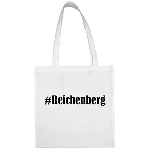 Tasche #Reichenberg Größe 38x42 Farbe Weiss Druck Schwarz