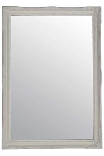 Grand Miroir Mural au Design Antique Blanc 86 x 61 cm
