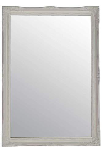 Espejo de Pared Grande con diseño Antiguo, Color Blanco
