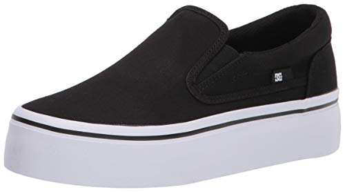 DC womens Trase Slip Platform Skate Shoe, Black/White, 9 US