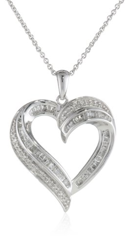 Sterling Silver Diamond Heart Pendant Necklace (1/2 cttw), 18'