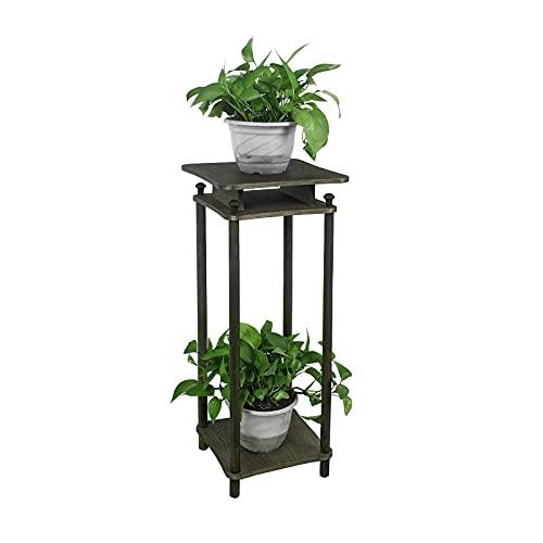 GIBOLEA 花台 フラワースタンド 木製 フラワーラック 花瓶台 鉢置き台 観葉植物 飾り台 植木鉢スタンド 玄関置物ラック アンティーク風 室内 屋外 (高い 55CM)
