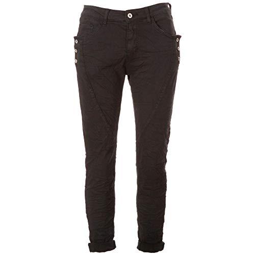 Basic.de Damen Boyfriend-Hose mit 3 Knopf-Tasche Melly & CO 8171 Schwarz M